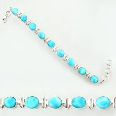 38.83cts natural blue larimar 925 sterling silver tennis bracelet jewelry d47362