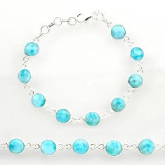 26.16cts natural blue larimar 925 sterling silver tennis bracelet jewelry r27581