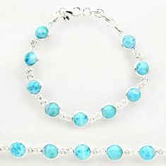 30.39cts natural blue larimar 925 sterling silver tennis bracelet jewelry r27582
