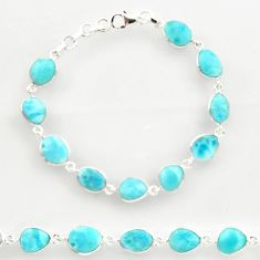 28.10cts natural blue larimar 925 sterling silver tennis bracelet jewelry r27583