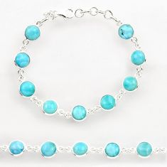 27.52cts natural blue larimar 925 sterling silver tennis bracelet jewelry r27586