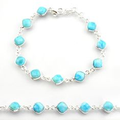 26.16cts natural blue larimar 925 sterling silver tennis bracelet jewelry r38221