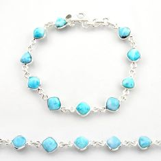 24.00cts natural blue larimar 925 sterling silver tennis bracelet jewelry r38222