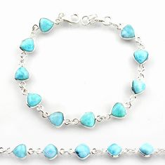 21.68cts natural blue larimar 925 sterling silver tennis bracelet jewelry r38223