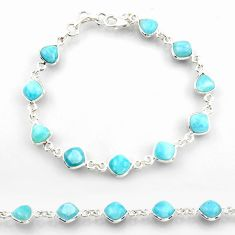 25.00cts natural blue larimar 925 sterling silver tennis bracelet jewelry r38225