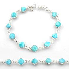 24.38cts natural blue larimar 925 sterling silver tennis bracelet jewelry r38226