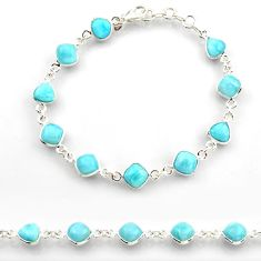 25.00cts natural blue larimar 925 sterling silver tennis bracelet jewelry r38227