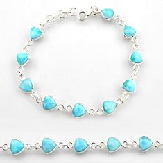 22.87cts natural blue larimar 925 sterling silver tennis bracelet jewelry r38228