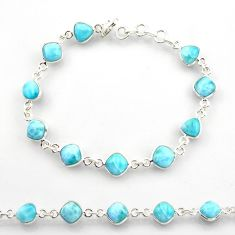 25.00cts natural blue larimar 925 sterling silver tennis bracelet jewelry r38230
