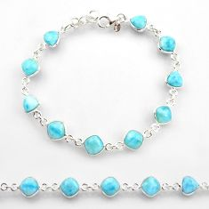 24.38cts natural blue larimar 925 sterling silver tennis bracelet jewelry r38231