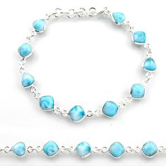 24.00cts natural blue larimar 925 sterling silver tennis bracelet jewelry r38233