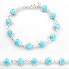26.16cts natural blue larimar 925 sterling silver tennis bracelet jewelry r38234