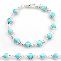 23.95cts natural blue larimar 925 sterling silver tennis bracelet jewelry r38235