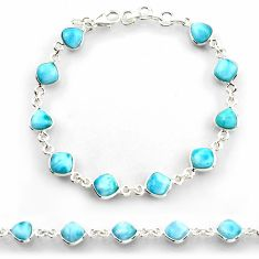 25.00cts natural blue larimar 925 sterling silver tennis bracelet jewelry r38237