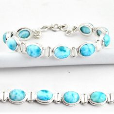 38.31cts natural blue larimar 925 sterling silver tennis bracelet jewelry r39041