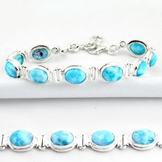 37.39cts natural blue larimar 925 sterling silver tennis bracelet jewelry r39042