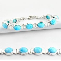 37.45cts natural blue larimar 925 sterling silver tennis bracelet jewelry r39043
