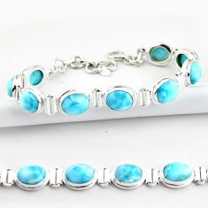 37.45cts natural blue larimar 925 sterling silver tennis bracelet jewelry r39046