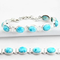 37.86cts natural blue larimar 925 sterling silver tennis bracelet jewelry r39047