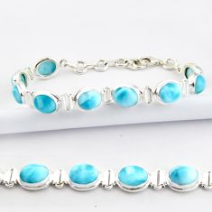 37.08cts natural blue larimar 925 sterling silver tennis bracelet jewelry r39050