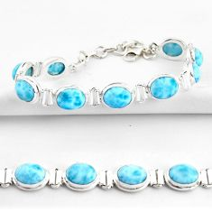 37.45cts natural blue larimar 925 sterling silver tennis bracelet jewelry r39051