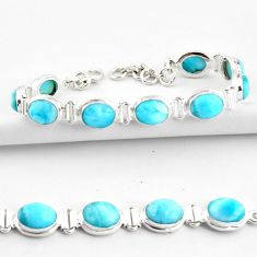 37.37cts natural blue larimar 925 sterling silver tennis bracelet jewelry r39052