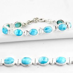 38.27cts natural blue larimar 925 sterling silver tennis bracelet jewelry r39054