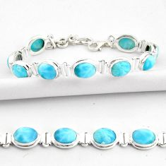 36.63cts natural blue larimar 925 sterling silver tennis bracelet jewelry r39056