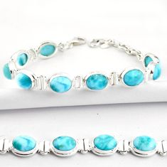 38.23cts natural blue larimar 925 sterling silver tennis bracelet jewelry r39059