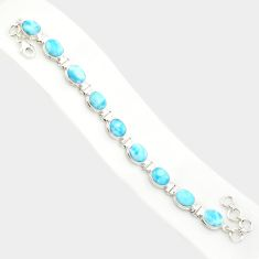 37.43cts natural blue larimar 925 sterling silver tennis bracelet jewelry r84409