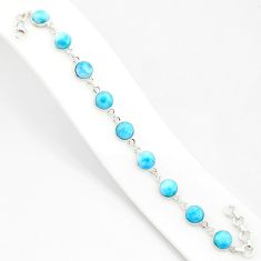 25.00cts natural blue larimar 925 sterling silver tennis bracelet jewelry r84867
