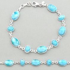 25.17cts natural blue larimar 925 sterling silver tennis bracelet jewelry t19462