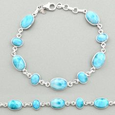 23.48cts natural blue larimar 925 sterling silver tennis bracelet jewelry t19463