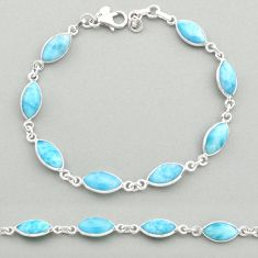 20.51cts natural blue larimar 925 sterling silver tennis bracelet jewelry t19465