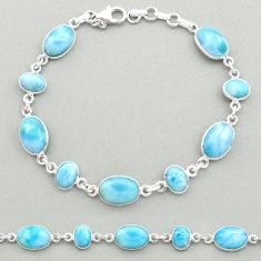 25.64cts natural blue larimar 925 sterling silver tennis bracelet jewelry t19466