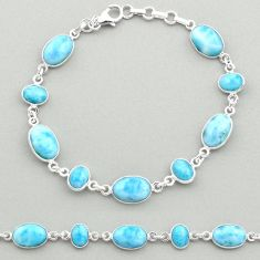 25.66cts natural blue larimar 925 sterling silver tennis bracelet jewelry t19467