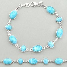 26.08cts natural blue larimar 925 sterling silver tennis bracelet jewelry t19468