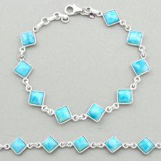 15.26cts natural blue larimar 925 sterling silver tennis bracelet jewelry t19470