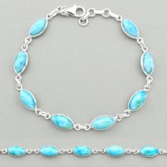 21.55cts natural blue larimar 925 sterling silver tennis bracelet jewelry t19471