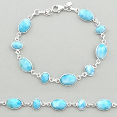 24.65cts natural blue larimar 925 sterling silver tennis bracelet jewelry t19472