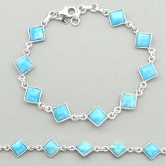 14.42cts natural blue larimar 925 sterling silver tennis bracelet jewelry t19474