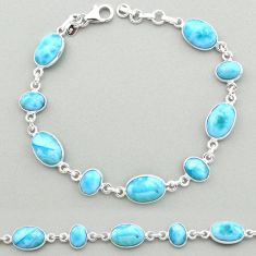 25.71cts natural blue larimar 925 sterling silver tennis bracelet jewelry t19475