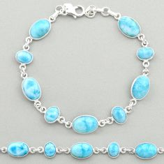 26.65cts natural blue larimar 925 sterling silver tennis bracelet jewelry t19479