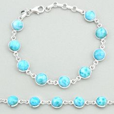 24.76cts natural blue larimar 925 sterling silver tennis bracelet jewelry t19708