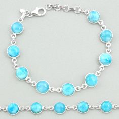 23.92cts natural blue larimar 925 sterling silver tennis bracelet jewelry t19710