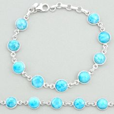 24.49cts natural blue larimar 925 sterling silver tennis bracelet jewelry t19711