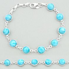 25.60cts natural blue larimar 925 sterling silver tennis bracelet jewelry t19712