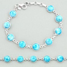24.92cts natural blue larimar 925 sterling silver tennis bracelet jewelry t19715