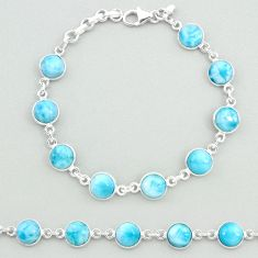 23.95cts natural blue larimar 925 sterling silver tennis bracelet jewelry t19716