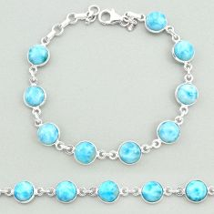 25.16cts natural blue larimar 925 sterling silver tennis bracelet jewelry t19717